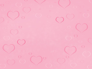 pink and white hearts of different size, pink background