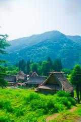 Ainokura Gassho Zukuri farmhouses in Toyama, Japan. Japan is a country located in the East Asia.