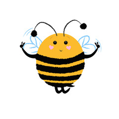 Cheerful bee having fun, dancing, flying, showing peace gestures. Joy concept. Vector illustration can be used for topics like holiday, invitation, leisure