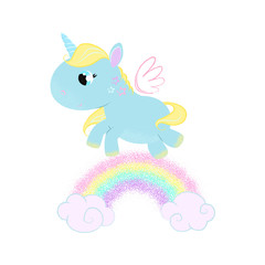 Cute baby unicorn with galloping along rainbow. Magic concept. Vector illustration can be used for topics like fairytale, children, myth, fantasy