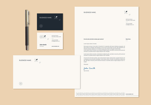 Stationery Set Layout with Thin Line Illustrations