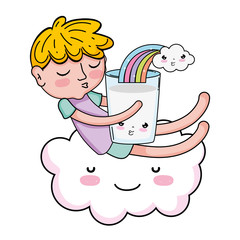 little boy with milk and rainbow kawaii character