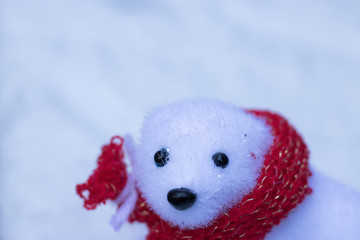 Close-up: decorative white bear wears red festive scarf is on blurred white snow background with copy space for message. Winter is here!
