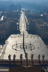 View from the roof of St. Peter's Square in the Vatican in the morning