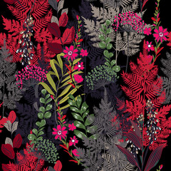 Beauitful garden in the night colorful  Floral pattern in the many kind of flowers. Tropical botanical .