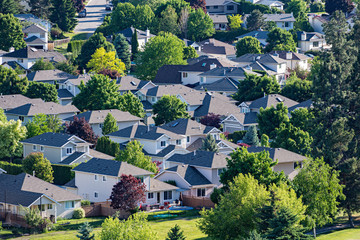 Elevated view of a residential subdivision in the Okanagan Valley West Kelowna British Columbia Canada Wall mural