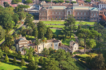 View of the Vatican Gardens from the roof of St. Peter's Cathedral on a sunny day