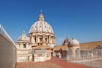 The roof of the Cathedral of St. Peter in the Vatican on a sunny day