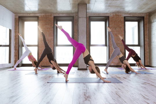 Yogs class. Group of sporty people practicing yoga indoors in loft interior, doing Adho mukha shvanasana pose, or Downward Facing Dog posture variation