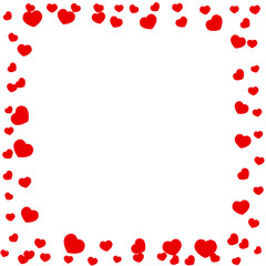 Frame of red hearts on Valentine's Day.