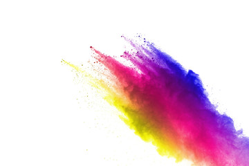 Freeze motion of colored powder explosions isolated on white background.