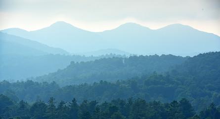 A foggy shot of the Blue ridge mountains.