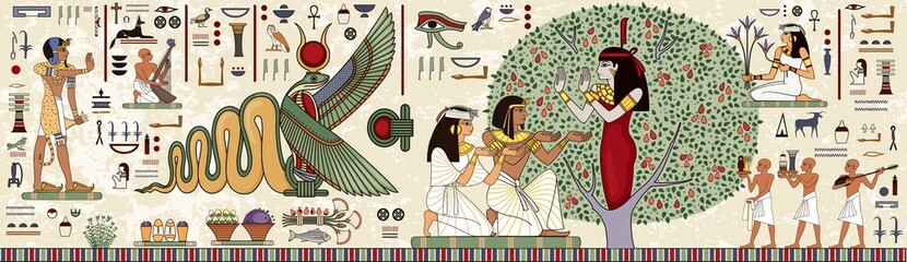 Ancient egypt background.Egyptian hieroglyph and symbolAncient culture sing and symbol.Historical background.Ancient goddess.