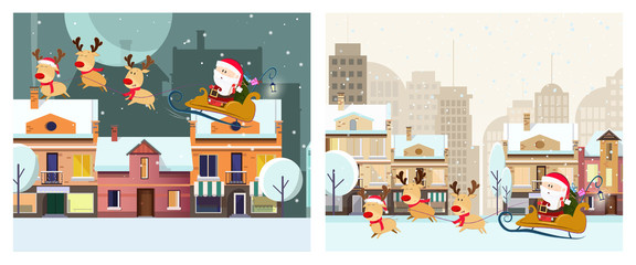 Winter town illustration design. Two illustrations of Santa Claus riding in sleigh with deer on background with winter landscape. Can be used for postcards, invitations, greeting cards