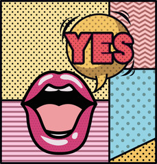 mouth saying yes pop art style