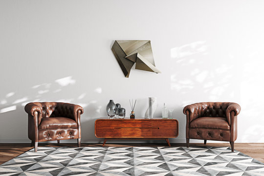 Vintage Leather Armchairs and Wooden tv stand in White Scandinavia Interior 3D render
