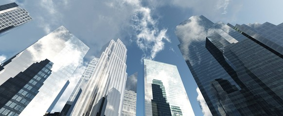 Skyscrapers are modern high-rise buildings against the sky with clouds from below,