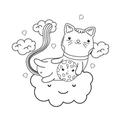 cute cat with cookie in cloud