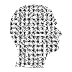 Silhouette of male head on the side from black printed board, chip and radio component. Computer electronics processor motherboard. Vector illustration.