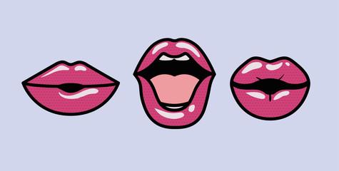 set of mouths pop art styles