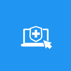 Online insurance vector icon