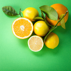Lemons on a green background, citrus, vitamin C