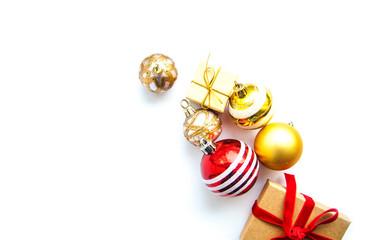 christmas gift  boxes , balls on white  background