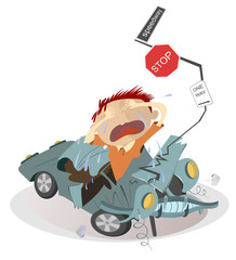 Road accident and sobbing man in the crashed car illustration. Upset crying man and car rams into the road signs isolated illustration