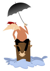 Man sitting on the barrel escapes from the flood illustration. Man with umbrella drifts on the barrel trying to escape from the flood isolated on white illustration