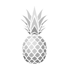 Pineapple grunge with leaf. Tropical exotic fruit isolated white background. Symbol of organic food, summer, vitamin, healthy. Nature logo. Design element silhouette icon. Vector illustration