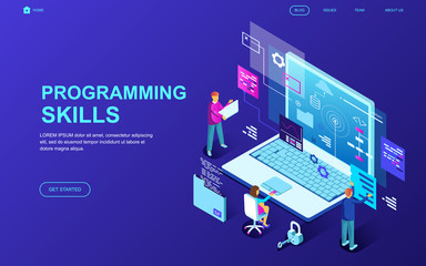 Modern flat design isometric concept of Programming Skills decorated people character for website and mobile website development. Isometric landing page template. Vector illustration.