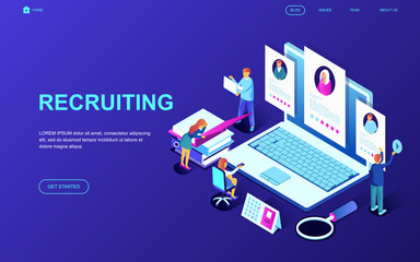 Modern flat design isometric concept of Recruiting decorated people character for website and mobile website development. Isometric landing page template. Vector illustration.