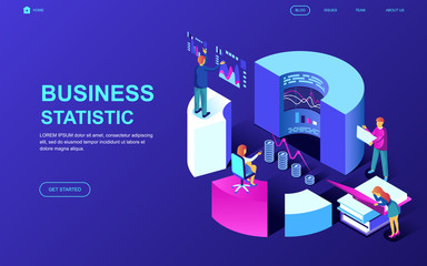 Modern flat design isometric concept of Business Statistic decorated people character for website and mobile website development. Isometric landing page template. Vector illustration.