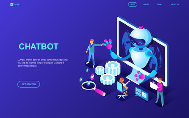 Modern flat design isometric concept of Chat Bot and Marketing decorated people character for website and mobile website development. Isometric landing page template. Vector illustration.