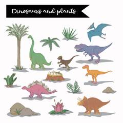 Vector dinosaur set isolated over white vector