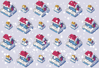 Cartoon Gingerbread House with Pink Roof, Illustration, Vector, Isometric, pattern