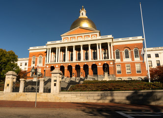 Front Bulfinch Entrance Massachusetts State House Capital Building Boston