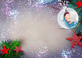 Christmas holiday background with nativity scene.