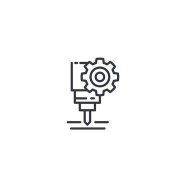 CNC machine service, vector line icon