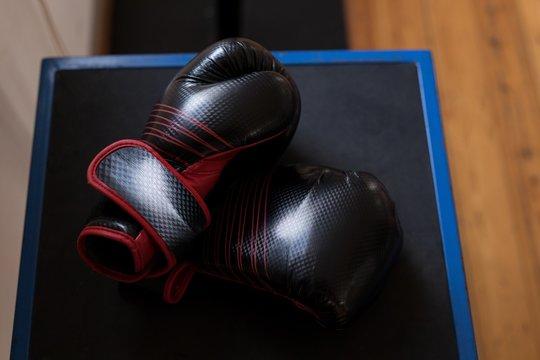 Boxing gloves in fitness studio
