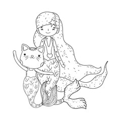 cute purrmaid and mermaid