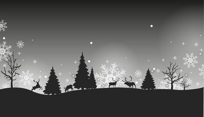 Black and white winter New Year landscape with deer and snowflakes