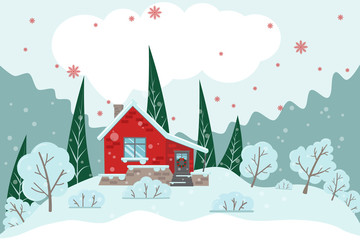Vector Christmas light card with house, trees and snow with place for text
