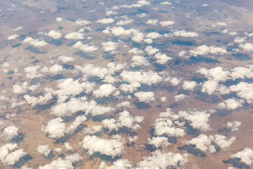 Aerial view of clouds over the desert