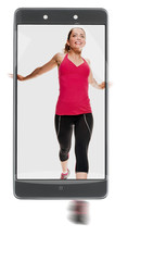 Young athletic female runner photographed on modern smartphone. conceptual image with a smartphone, demonstration of device capabilities