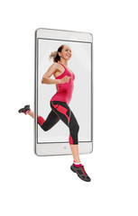 Photo of happy sporty fit young woman running, concept virtual reality of the smartphone. going out of the device