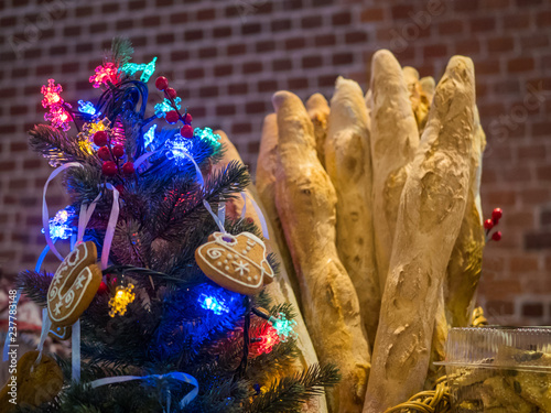 Baguettes With Christmas Decor In Bakery French Cuisine Candy