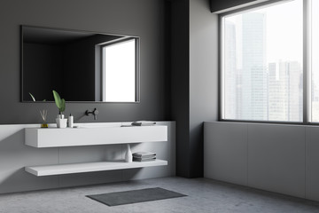 Loft gray and white bathroom, white sink