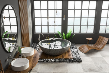 Gray and wood bathroom, tub and sink