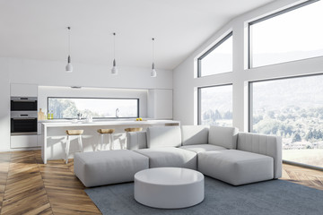 White living room and kitchen corner close up